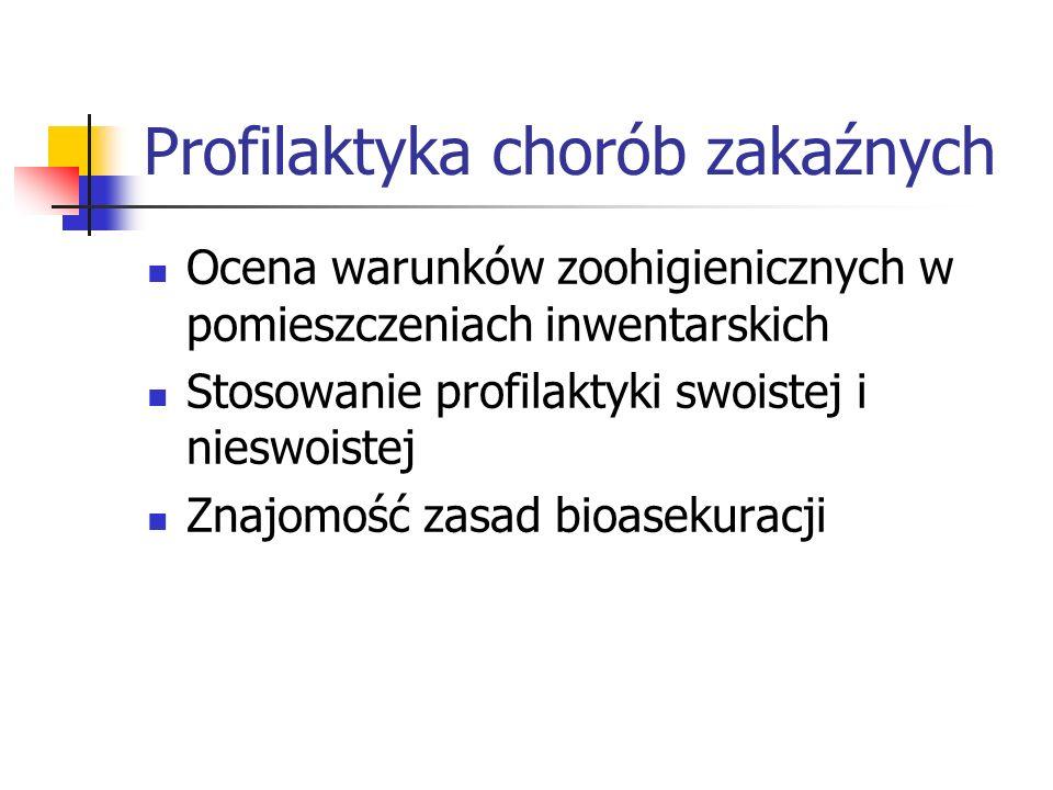 Profilaktyka chorób zakaźnych Ocena warunków zoohigienicznych w pomieszczeniach inwentarskich Stosowanie profilaktyki swoistej i nieswoistej Znajomość