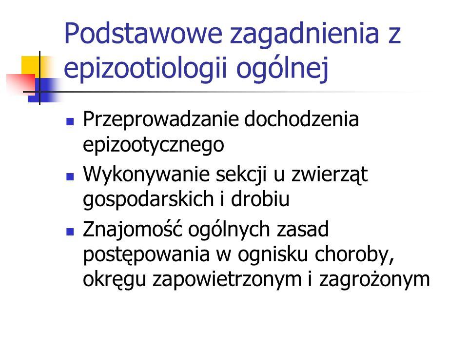 Podstawowe zagadnienia z epizootiologii ogólnej Przeprowadzanie dochodzenia epizootycznego Wykonywanie sekcji u zwierząt gospodarskich i drobiu Znajom