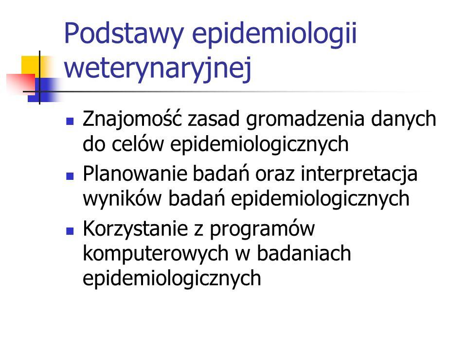Podstawy epidemiologii weterynaryjnej Znajomość zasad gromadzenia danych do celów epidemiologicznych Planowanie badań oraz interpretacja wyników badań