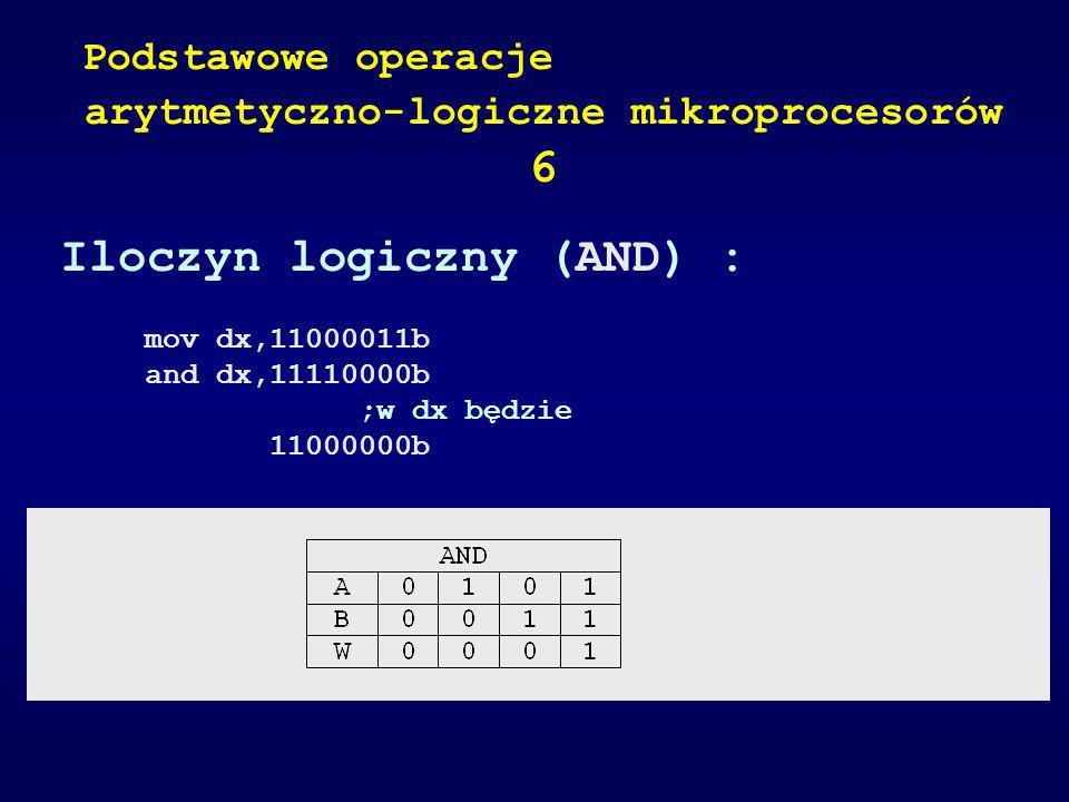 Iloczyn logiczny (AND) : mov dx,11000011b and dx,11110000b ;w dx będzie 11000000b Podstawowe operacje arytmetyczno-logiczne mikroprocesorów 6