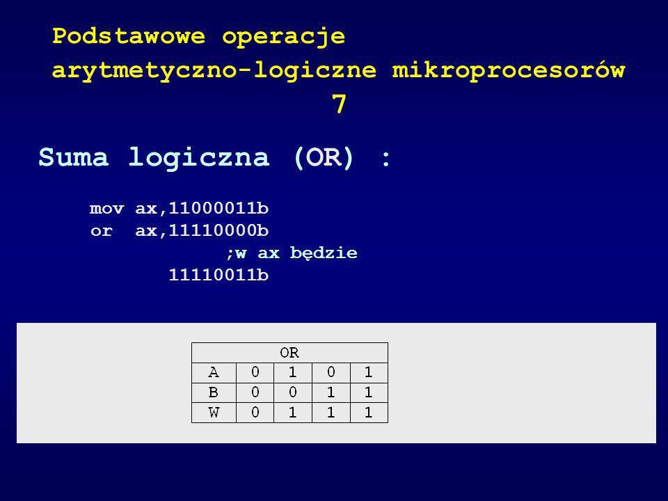 Suma logiczna (OR) : mov ax,11000011b or ax,11110000b ;w ax będzie 11110011b Podstawowe operacje arytmetyczno-logiczne mikroprocesorów 7