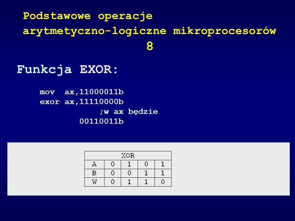 Funkcja EXOR: mov ax,11000011b exor ax,11110000b ;w ax będzie 00110011b Podstawowe operacje arytmetyczno-logiczne mikroprocesorów 8