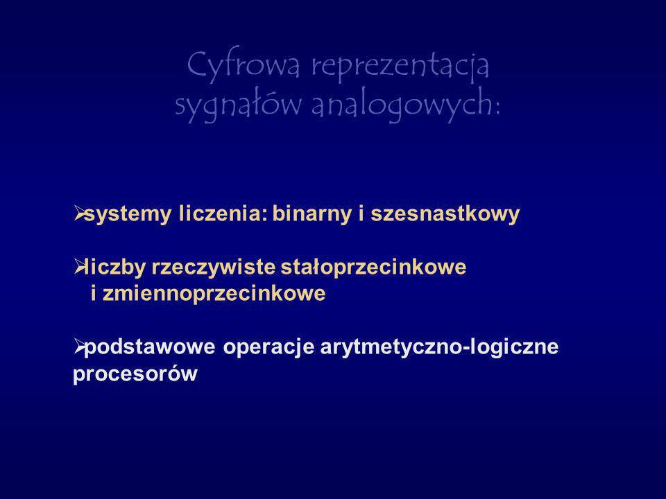 Cyfrowa reprezentacja sygnałów analogowych: systemy liczenia: binarny i szesnastkowy liczby rzeczywiste stałoprzecinkowe i zmiennoprzecinkowe podstawo
