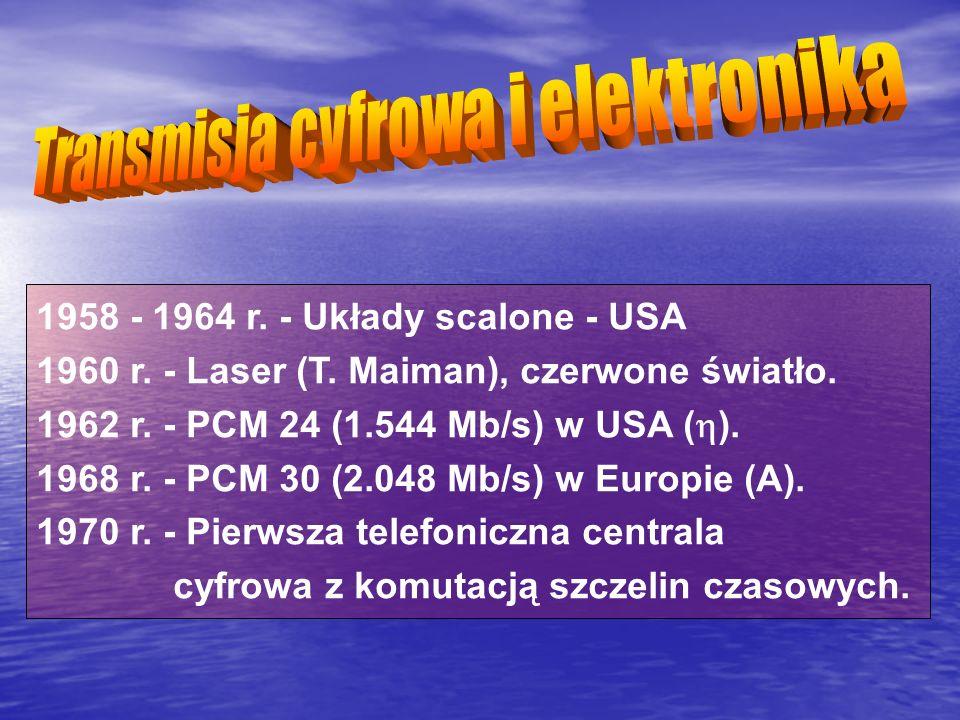 1958 - 1964 r. - Układy scalone - USA 1960 r. - Laser (T. Maiman), czerwone światło. 1962 r. - PCM 24 (1.544 Mb/s) w USA ( ). 1968 r. - PCM 30 (2.048