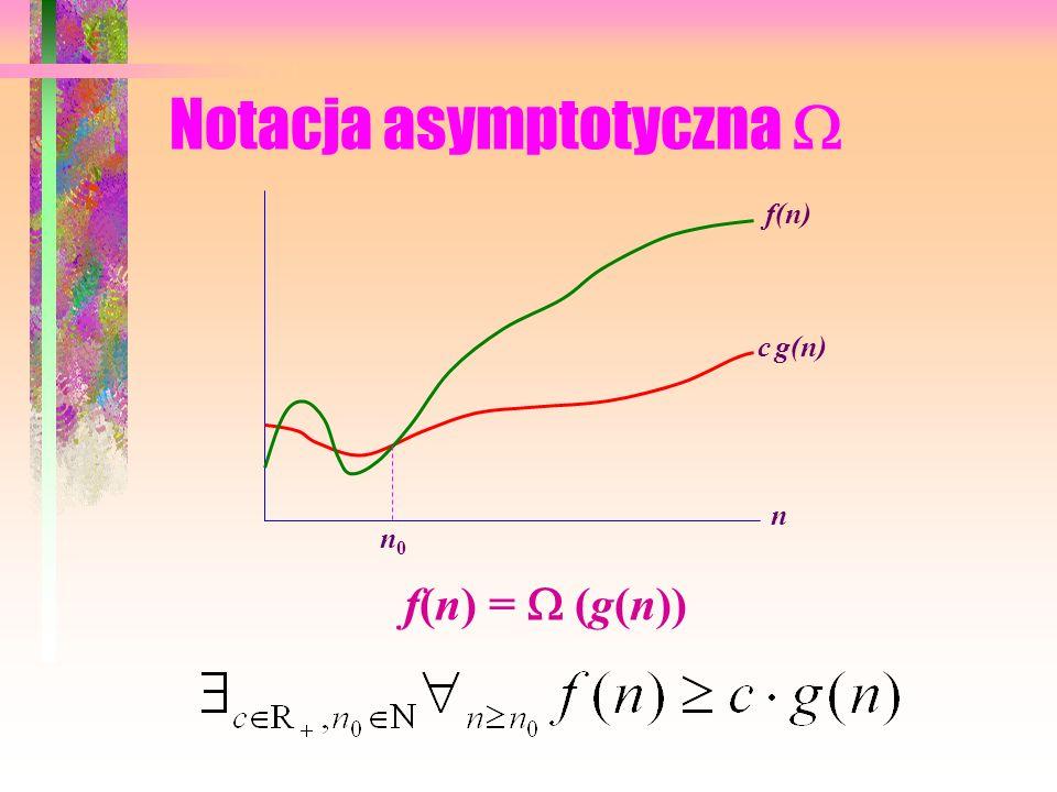 Notacja asymptotyczna O c g(n) f(n) n n0n0 f(n) = O(g(n))