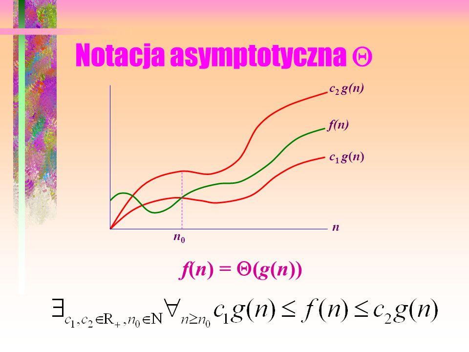 Notacja asymptotyczna f(n) = (g(n)) c g(n) f(n) n n0n0