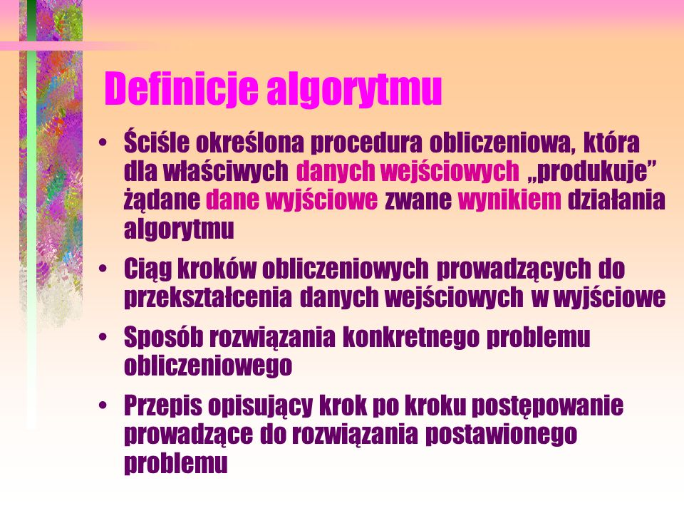 Literatura - cd. Harel D., Feldman Y.: Rzecz o istocie informatyki. Algorytmika, WNT, Warszawa 2008 (wyd. 4) Sysło M.M.: Algorytmy, WSiP, Warszawa 200
