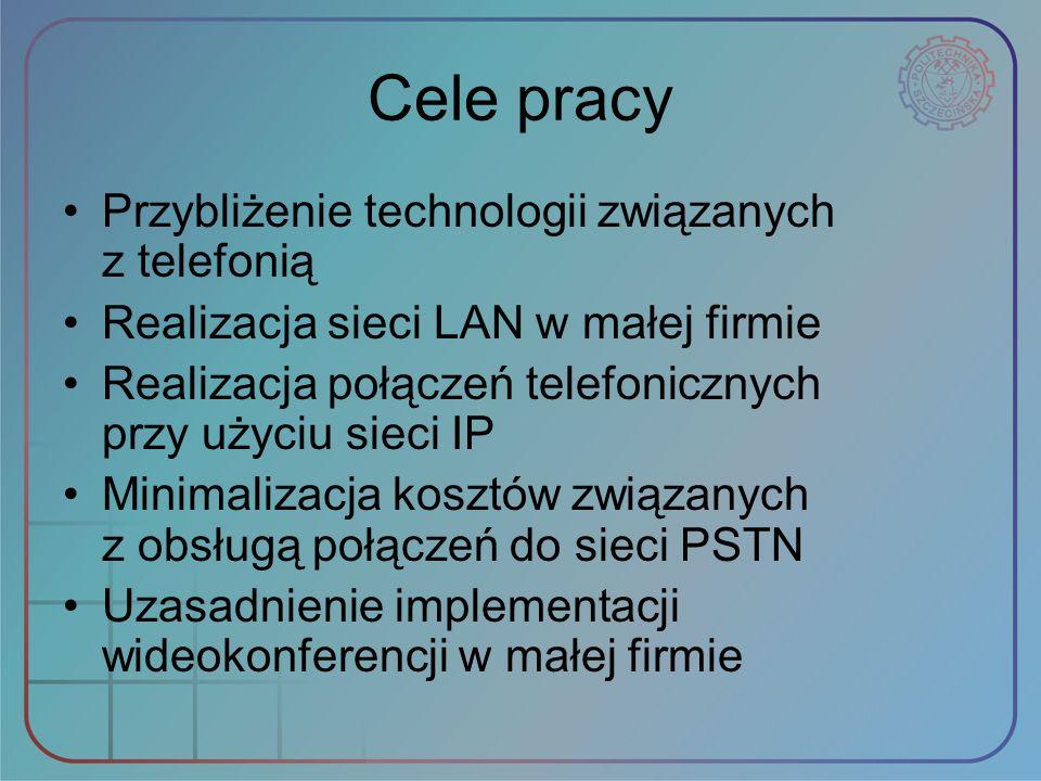 Cele pracy Przybliżenie technologii związanych z telefonią Realizacja sieci LAN w małej firmie Realizacja połączeń telefonicznych przy użyciu sieci IP