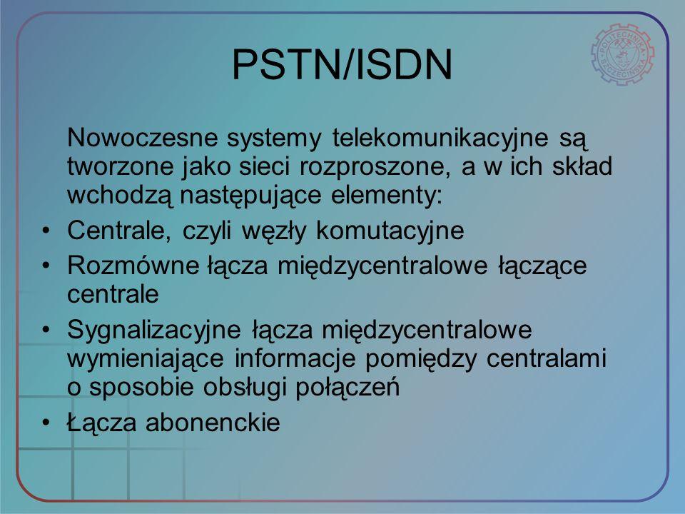 PSTN/ISDN Nowoczesne systemy telekomunikacyjne są tworzone jako sieci rozproszone, a w ich skład wchodzą następujące elementy: Centrale, czyli węzły k