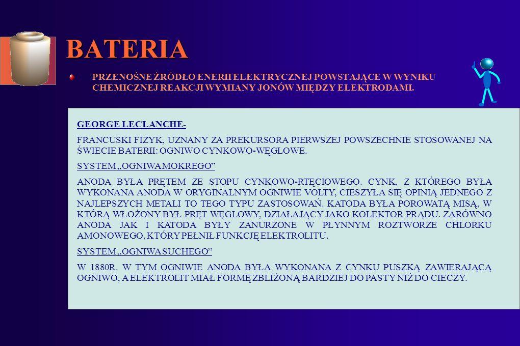 SPIS TREŚCI: 1.BATERIA- POWSTANIE BATERII 2.AKUMULATOR- POWSTANIE AKUMULATORA 3.ZAGROŻENIA ŚRODOWISKOWE: METALE CIĘŻKIE WPŁYW BATERII I AKUMULATORÓW NA ŚRODOWISKO SYSTEM ZARZĄDZANIA ŚRODOWISKIEM EKOLOGIA 4.SPOSOBY EDUKACJI: APEL EKOLOGICZNY EDUKACJA EKOLOGICZNA 5.INFORMACJE ZWIĄZANE ZE ZBIÓRKĄ ZUŻYTYCH BATERII I AKUMULATORÓW: PODSTAWY PRAWNE ZBIÓRKI BATERII TRANSPORT I PRZEKAZANIE ZUŻYTYCH BATERII DO ZAKŁADÓW PRZETWARZANIA