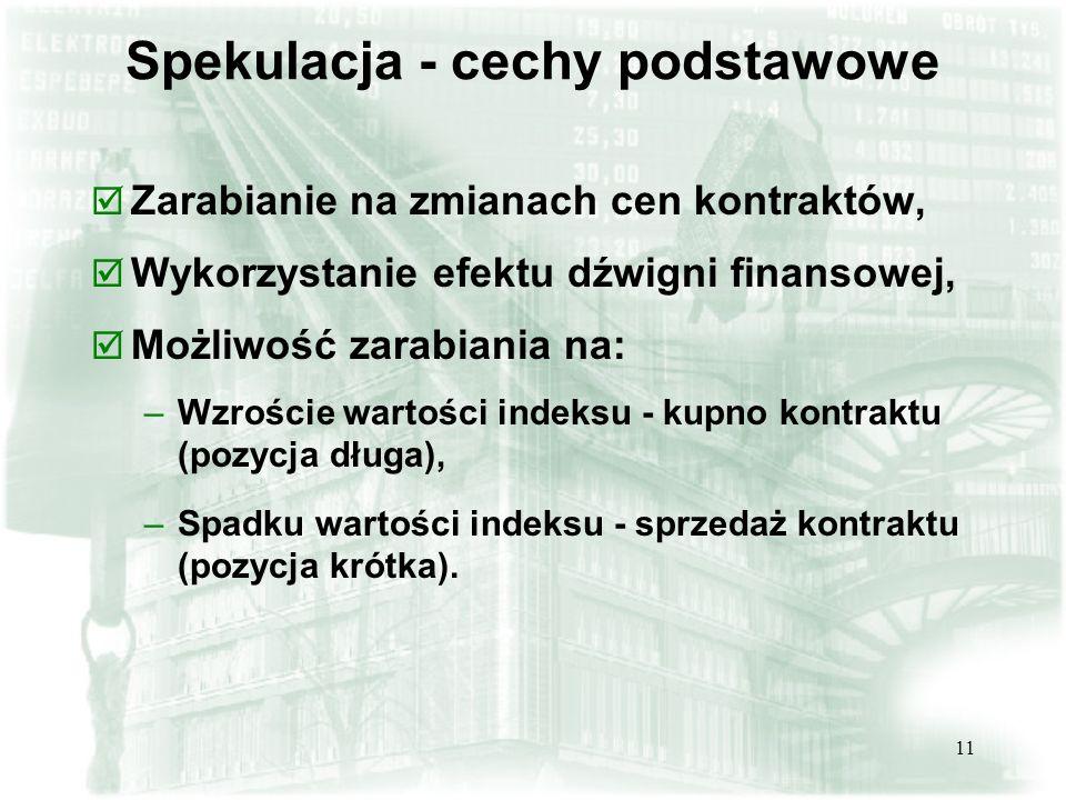11 Spekulacja - cechy podstawowe þ Zarabianie na zmianach cen kontraktów, þ Wykorzystanie efektu dźwigni finansowej, þ Możliwość zarabiania na: –Wzroś
