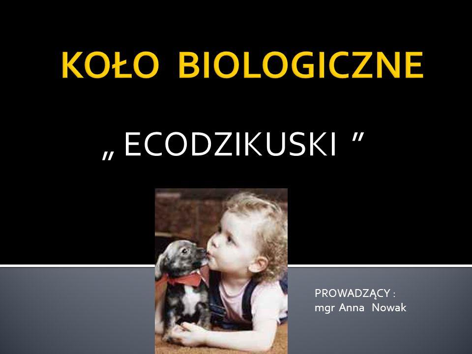 ECODZIKUSKI PROWADZĄCY : mgr Anna Nowak