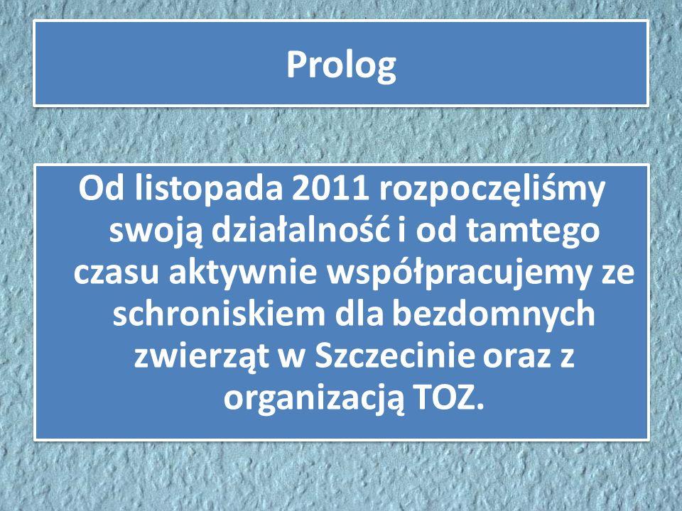 Prolog Od listopada 2011 rozpoczęliśmy swoją działalność i od tamtego czasu aktywnie współpracujemy ze schroniskiem dla bezdomnych zwierząt w Szczecin