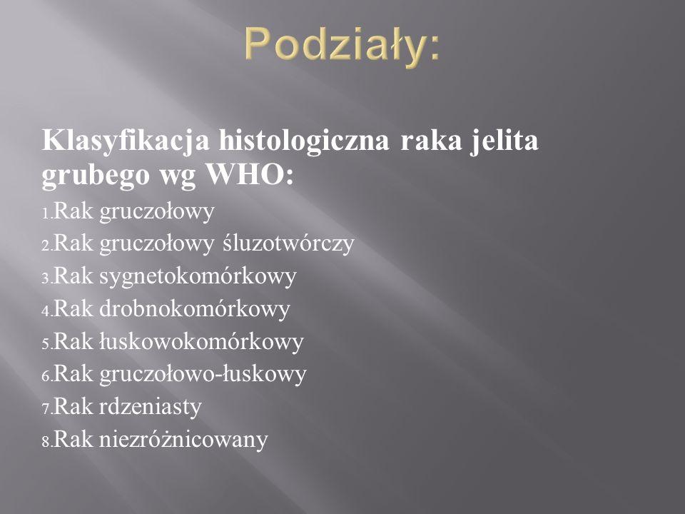 Klasyfikacja histologiczna raka jelita grubego wg WHO: 1. Rak gruczołowy 2. Rak gruczołowy śluzotwórczy 3. Rak sygnetokomórkowy 4. Rak drobnokomórkowy