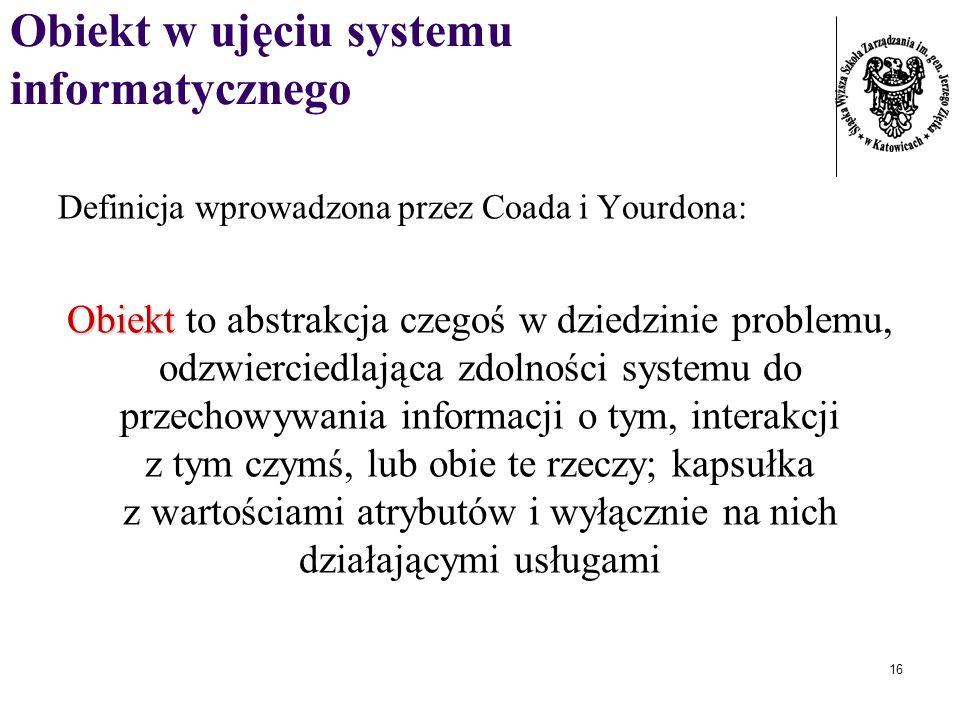 16 Obiekt w ujęciu systemu informatycznego Definicja wprowadzona przez Coada i Yourdona: Obiekt Obiekt to abstrakcja czegoś w dziedzinie problemu, odz