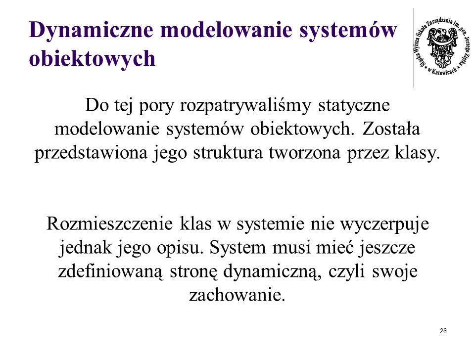 26 Dynamiczne modelowanie systemów obiektowych Do tej pory rozpatrywaliśmy statyczne modelowanie systemów obiektowych. Została przedstawiona jego stru