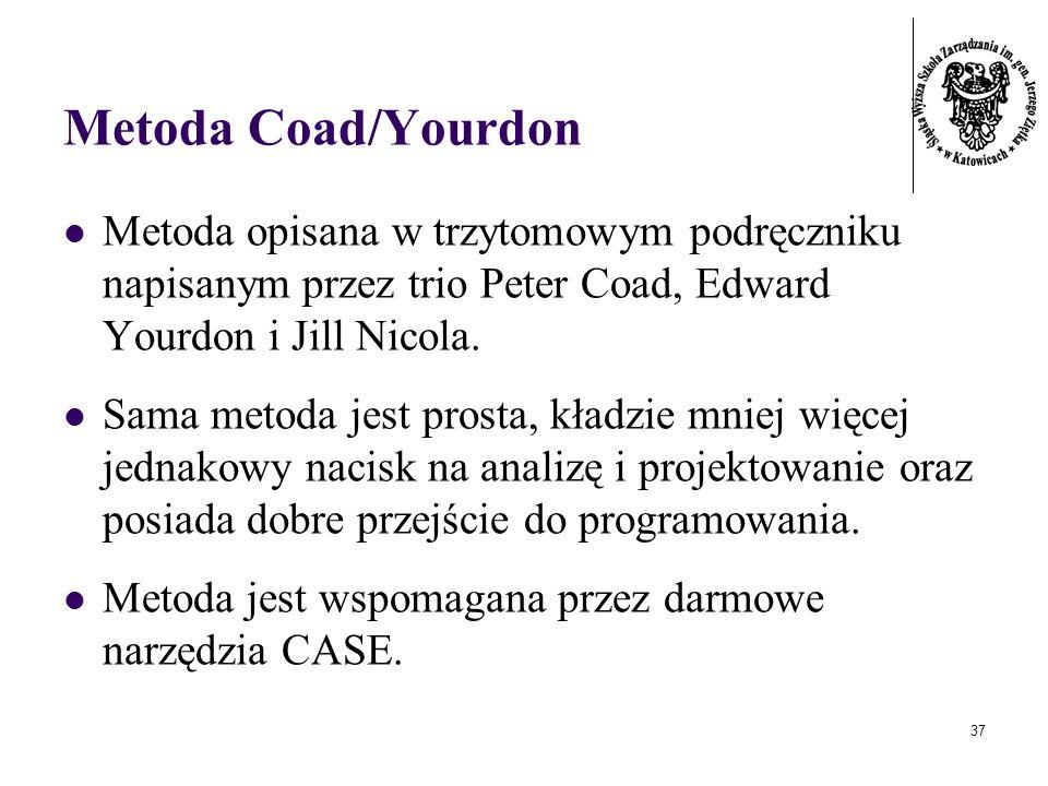 37 Metoda Coad/Yourdon Metoda opisana w trzytomowym podręczniku napisanym przez trio Peter Coad, Edward Yourdon i Jill Nicola. Sama metoda jest prosta