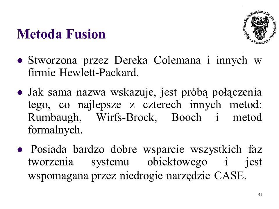 41 Metoda Fusion Stworzona przez Dereka Colemana i innych w firmie Hewlett-Packard. Jak sama nazwa wskazuje, jest próbą połączenia tego, co najlepsze