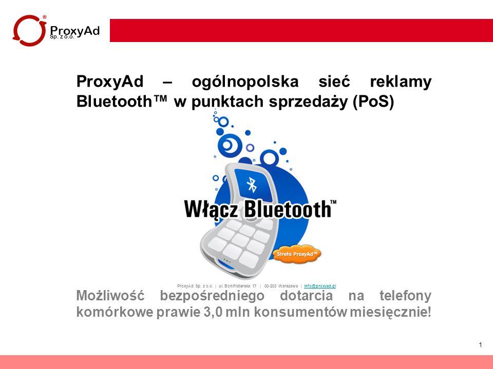 1 ProxyAd Sp. z o.o. | ul. Bonifraterska 17 | 00-203 Warszawa | info@proxyad.plinfo@proxyad.pl ProxyAd – ogólnopolska sieć reklamy Bluetooth w punktac