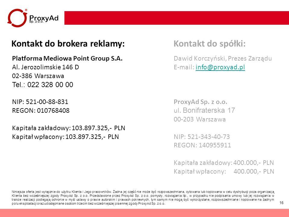 16 ProxyAd Sp. z o.o. Niniejsza oferta jest wyłącznie do użytku Klienta i Jego pracowników. Żadna jej część nie może być rozpowszechniana, cytowana lu