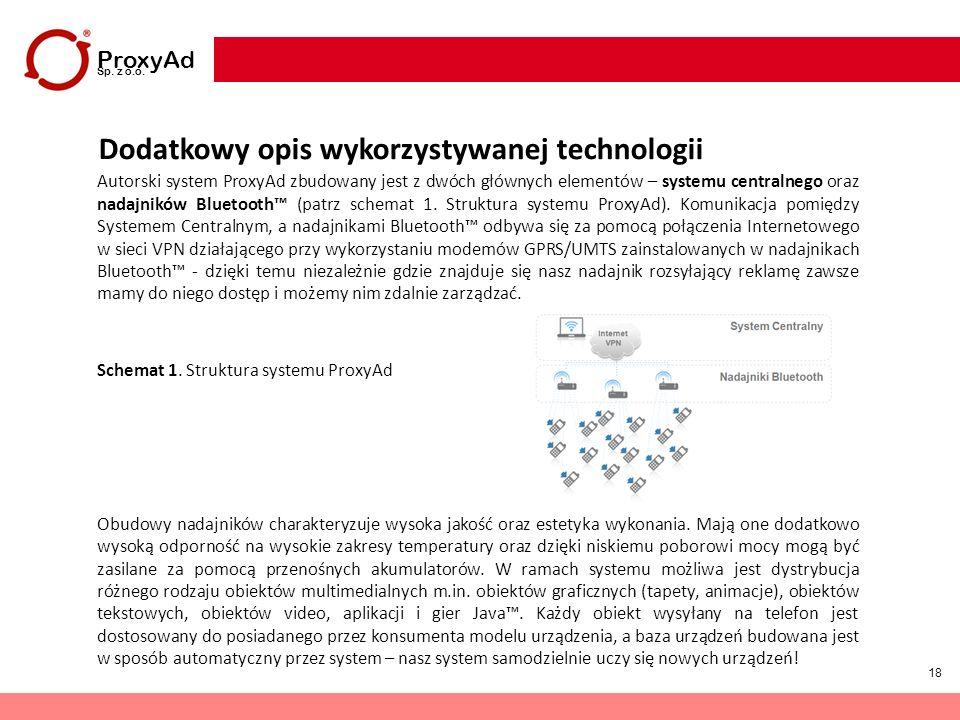 18 ProxyAd Sp. z o.o. Dodatkowy opis wykorzystywanej technologii Autorski system ProxyAd zbudowany jest z dwóch głównych elementów – systemu centralne