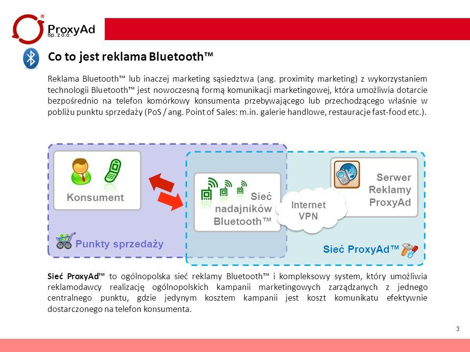 3 Co to jest reklama Bluetooth ProxyAd Sp. z o.o. Reklama Bluetooth lub inaczej marketing sąsiedztwa (ang. proximity marketing) z wykorzystaniem techn