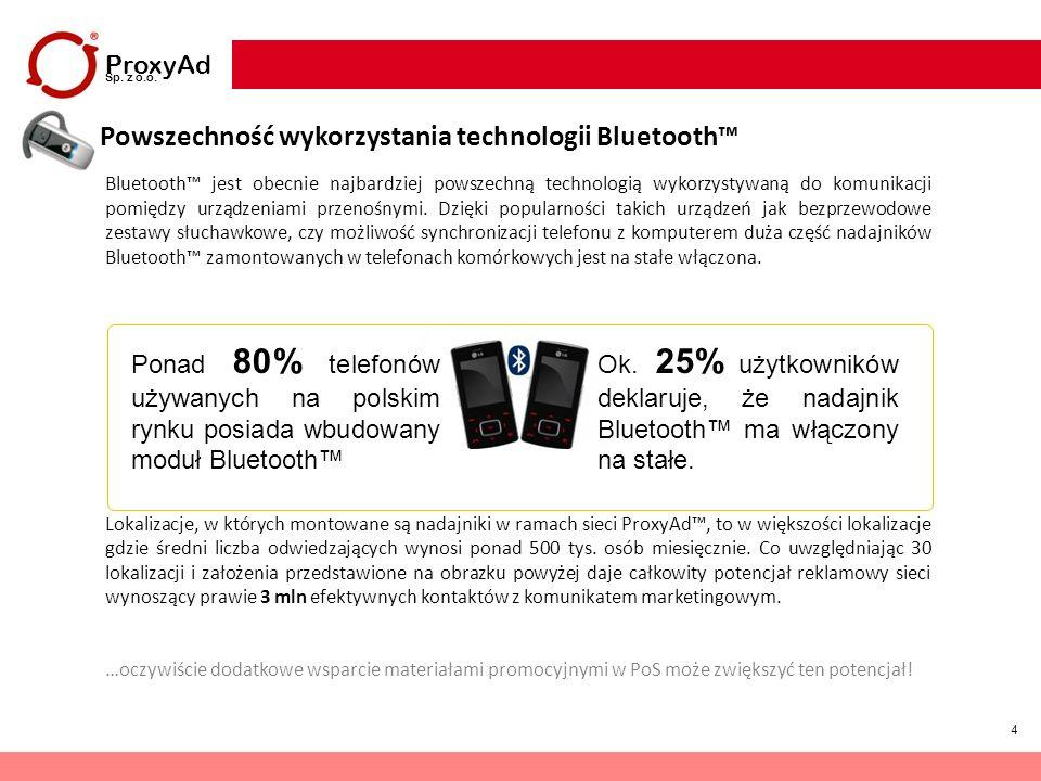 4 ProxyAd Sp. z o.o. Powszechność wykorzystania technologii Bluetooth Bluetooth jest obecnie najbardziej powszechną technologią wykorzystywaną do komu