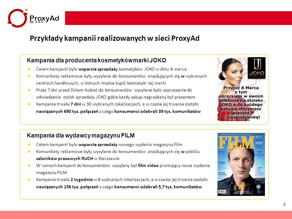 6 ProxyAd Sp. z o.o. Przykłady kampanii realizowanych w sieci ProxyAd Kampania dla producenta kosmetyków marki JOKO Kampania dla wydawcy magazynu FILM