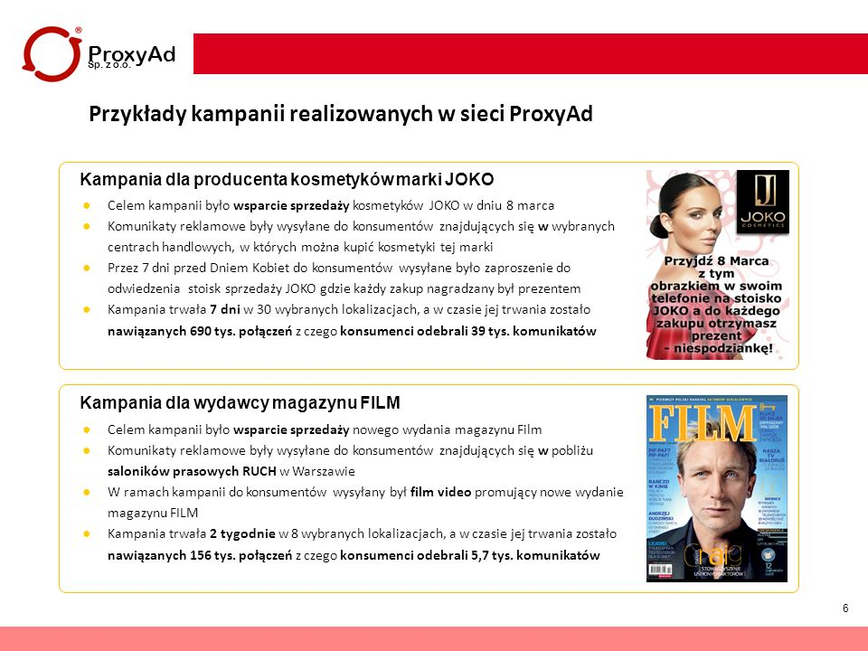 17 ProxyAd Sp.z o.o. Dodatkowy opis spółki ProxyAd Sp.