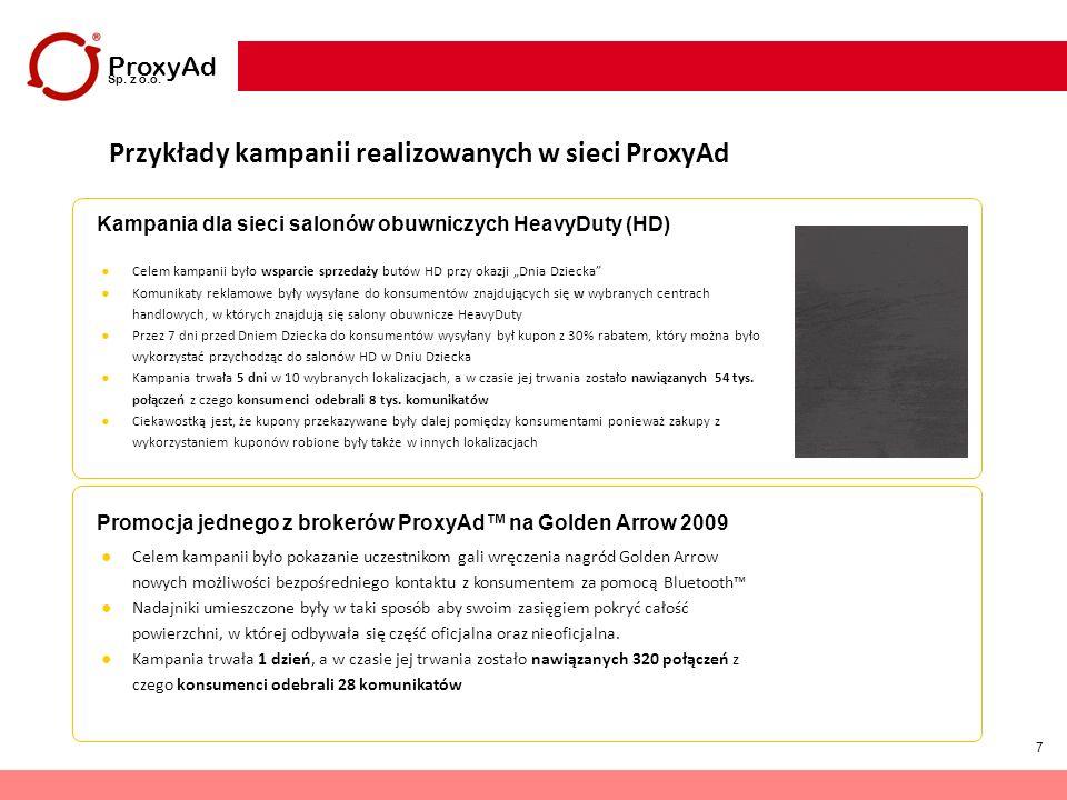 7 ProxyAd Sp. z o.o. Przykłady kampanii realizowanych w sieci ProxyAd Kampania dla sieci salonów obuwniczych HeavyDuty (HD) Promocja jednego z brokeró