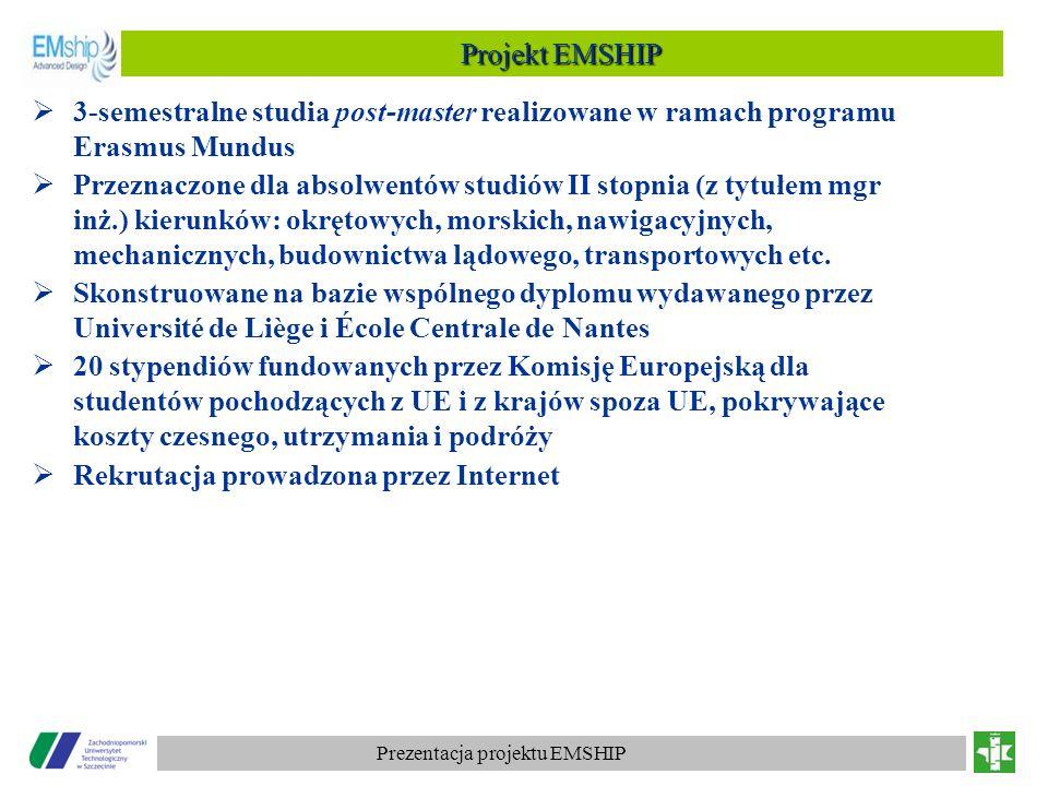 Prezentacja projektu EMSHIP Rekrutacja 363 wnioski z 28 krajów 100 wniosków kompletnych wybrano 20 kandydatów z krajów trzecich (Etiopia, Wietnam, ale także Brazylia, USA, Japonia), w tym 10 umieszczonych na liście rezerwowej wybrano 4 kandydatów z Chorwacji i Turcji, w tym 2 umieszczonych na liście rezerwowej Pierwsza rekrutacja kandydatów – na rok akademicki 2010/2011 Pierwsze zajęcia – ćwiczenia laboratoryjne.
