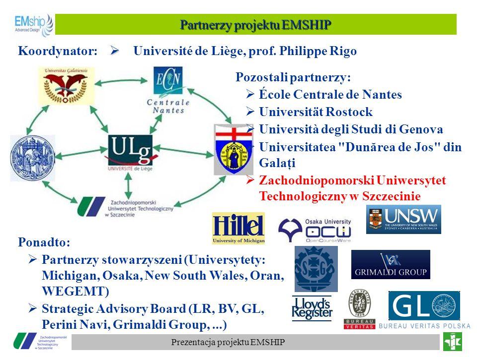 Prezentacja projektu EMSHIP Université de Liège, prof. Philippe Rigo Pozostali partnerzy: École Centrale de Nantes Universität Rostock Università degl