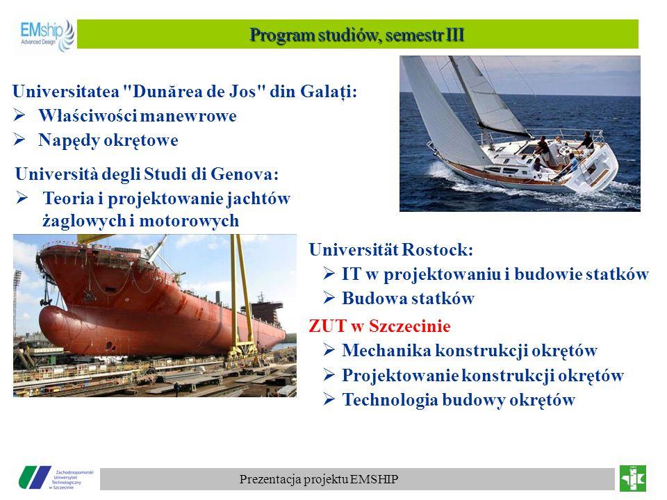 Prezentacja projektu EMSHIP Program studiów, semestr III Universität Rostock: IT w projektowaniu i budowie statków Budowa statków ZUT w Szczecinie Mec