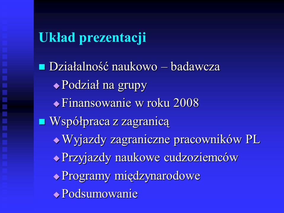 Układ prezentacji Działalność naukowo – badawcza Działalność naukowo – badawcza Podział na grupy Podział na grupy Finansowanie w roku 2008 Finansowani