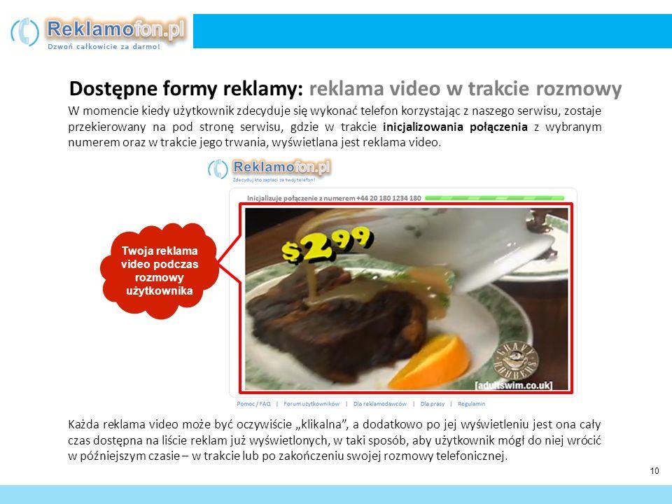 11 Nie zawsze podczas wyświetlania danej reklamy video, użytkownik jeszcze w trakcie jej trwania, zdecyduje się aby w nią kliknąć.