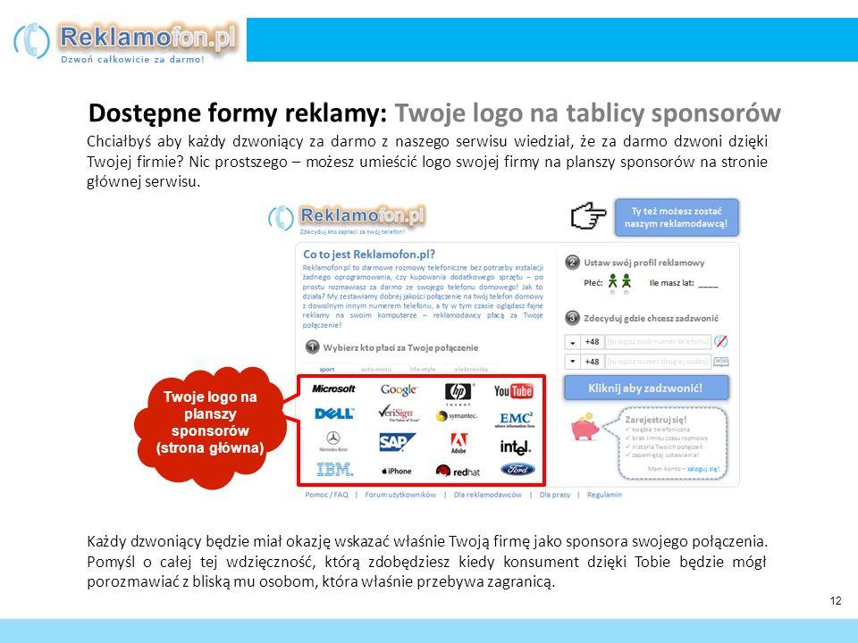 13 Reklama video wyświetlana w trakcie rozmowy Podstawowa cena reklamy CPM* = 260 zł Dopłaty za targetowanie: Płeć: +10% (od ceny podstawowej) Wiek: +10% Lokalizacja dzwoniącego: +10% Lokalizacja rozmówcy: +10% Zainteresowania: +10% Logo reklamodawcy na tablicy sponsorów Podstawowa cena logo = 10.000 zł / miesięcznie Dopłaty za usługi dodatkowe: Podbicie pozycji na liście sponsorów na wyższą – negocjowane.