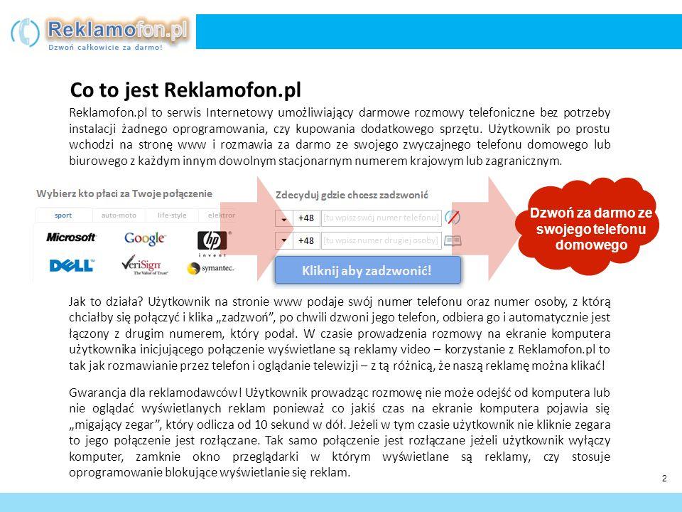 3 Aby zadzwonić użytkownik nie musi się rejestrować, posiadać słuchawek i mikrofonu, czy podłączać telefonu do komputera – wystarczy, że wejdzie stronie Reklamofon.pl poda swój numer telefonu (np.
