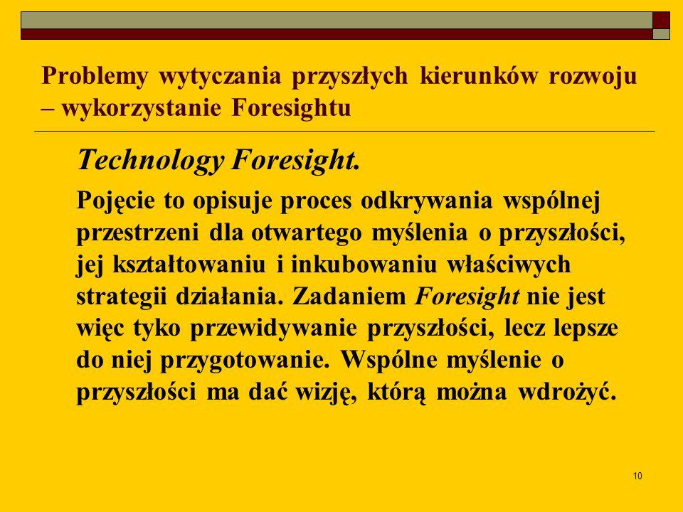 10 Problemy wytyczania przyszłych kierunków rozwoju – wykorzystanie Foresightu Technology Foresight. Pojęcie to opisuje proces odkrywania wspólnej prz