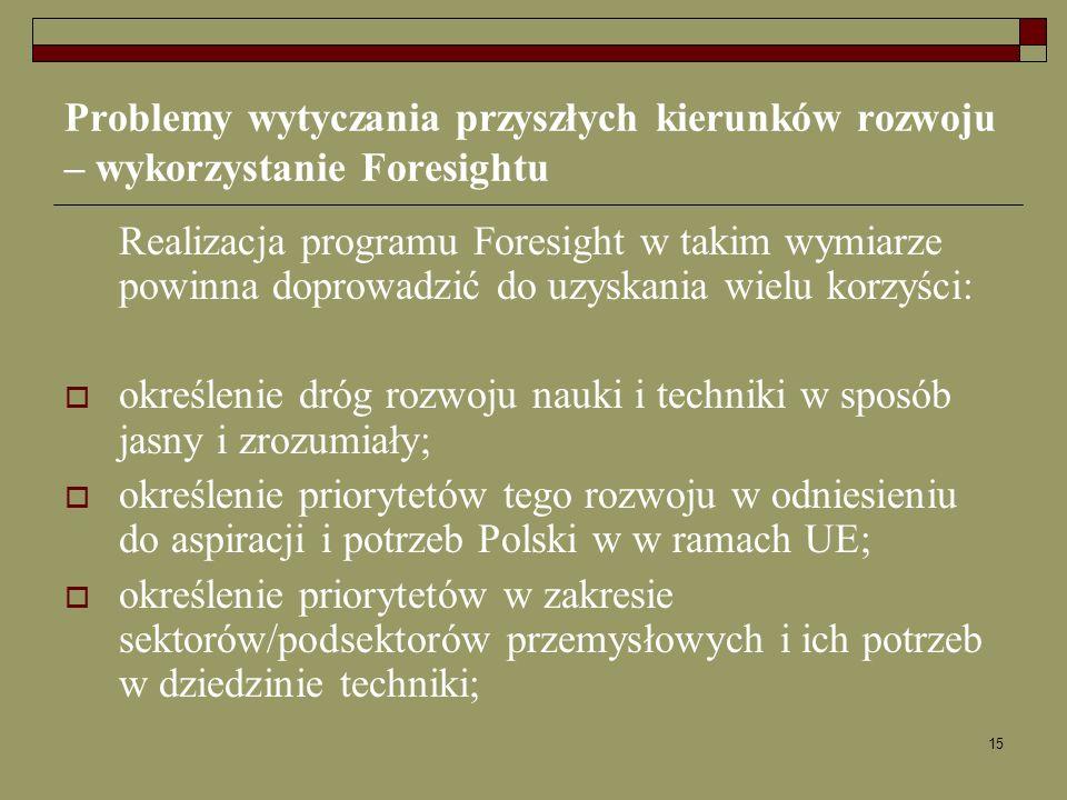 15 Problemy wytyczania przyszłych kierunków rozwoju – wykorzystanie Foresightu Realizacja programu Foresight w takim wymiarze powinna doprowadzić do u