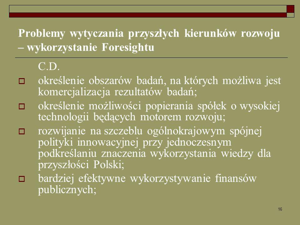 16 Problemy wytyczania przyszłych kierunków rozwoju – wykorzystanie Foresightu C.D. określenie obszarów badań, na których możliwa jest komercjalizacja