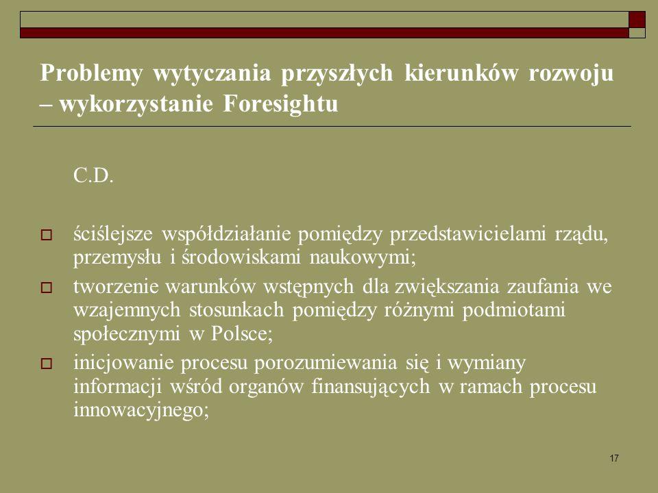 17 Problemy wytyczania przyszłych kierunków rozwoju – wykorzystanie Foresightu C.D. ściślejsze współdziałanie pomiędzy przedstawicielami rządu, przemy