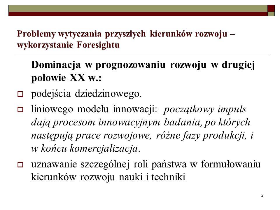 2 Problemy wytyczania przyszłych kierunków rozwoju – wykorzystanie Foresightu Dominacja w prognozowaniu rozwoju w drugiej połowie XX w.: podejścia dziedzinowego.