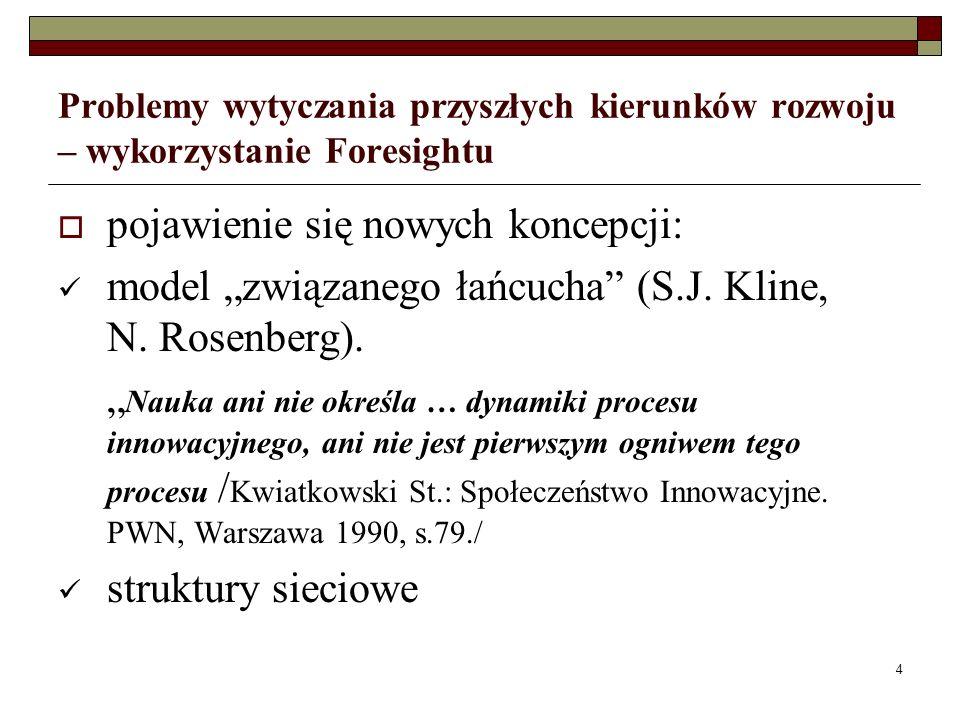 15 Problemy wytyczania przyszłych kierunków rozwoju – wykorzystanie Foresightu Realizacja programu Foresight w takim wymiarze powinna doprowadzić do uzyskania wielu korzyści: określenie dróg rozwoju nauki i techniki w sposób jasny i zrozumiały; określenie priorytetów tego rozwoju w odniesieniu do aspiracji i potrzeb Polski w w ramach UE; określenie priorytetów w zakresie sektorów/podsektorów przemysłowych i ich potrzeb w dziedzinie techniki;