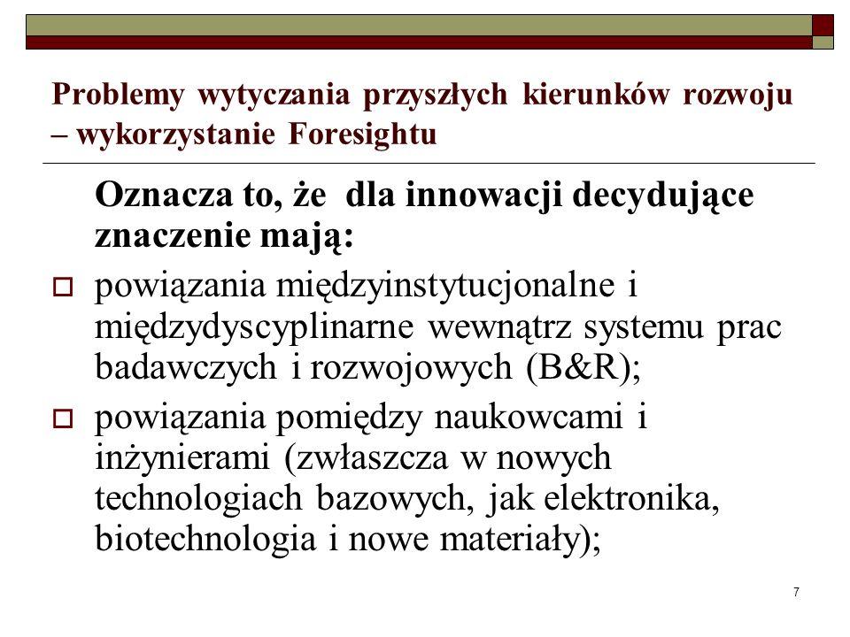 7 Problemy wytyczania przyszłych kierunków rozwoju – wykorzystanie Foresightu Oznacza to, że dla innowacji decydujące znaczenie mają: powiązania międzyinstytucjonalne i międzydyscyplinarne wewnątrz systemu prac badawczych i rozwojowych (B&R); powiązania pomiędzy naukowcami i inżynierami (zwłaszcza w nowych technologiach bazowych, jak elektronika, biotechnologia i nowe materiały);