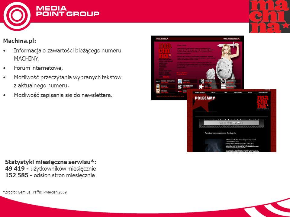Machina.pl: Informacja o zawartości bieżącego numeru MACHINY, Forum internetowe, Możliwość przeczytania wybranych tekstów z aktualnego numeru, Możliwość zapisania się do newslettera.