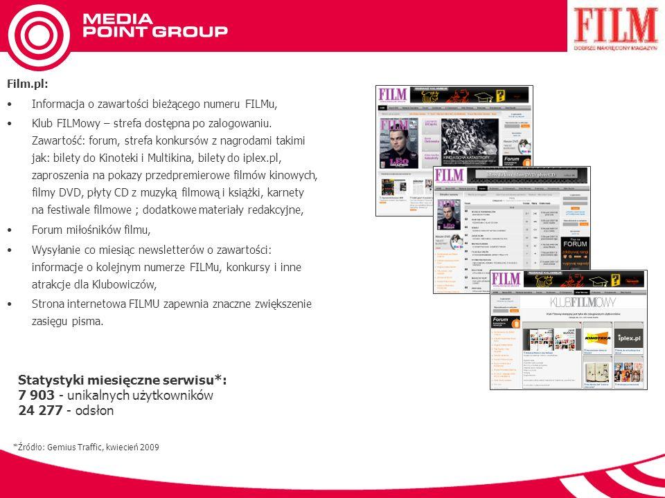 Film.pl: Informacja o zawartości bieżącego numeru FILMu, Klub FILMowy – strefa dostępna po zalogowaniu.