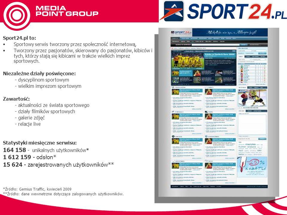 Sport24.pl to: Sportowy serwis tworzony przez społeczność internetową, Tworzony przez pasjonatów, skierowany do pasjonatów, kibiców i tych, którzy stają się kibicami w trakcie wielkich imprez sportowych.