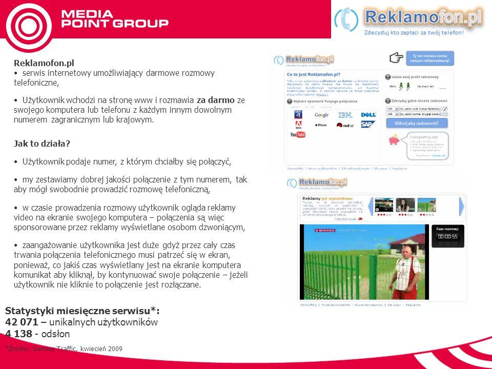 Reklamofon.pl serwis internetowy umożliwiający darmowe rozmowy telefoniczne, Użytkownik wchodzi na stronę www i rozmawia za darmo ze swojego komputera lub telefonu z każdym innym dowolnym numerem zagranicznym lub krajowym.