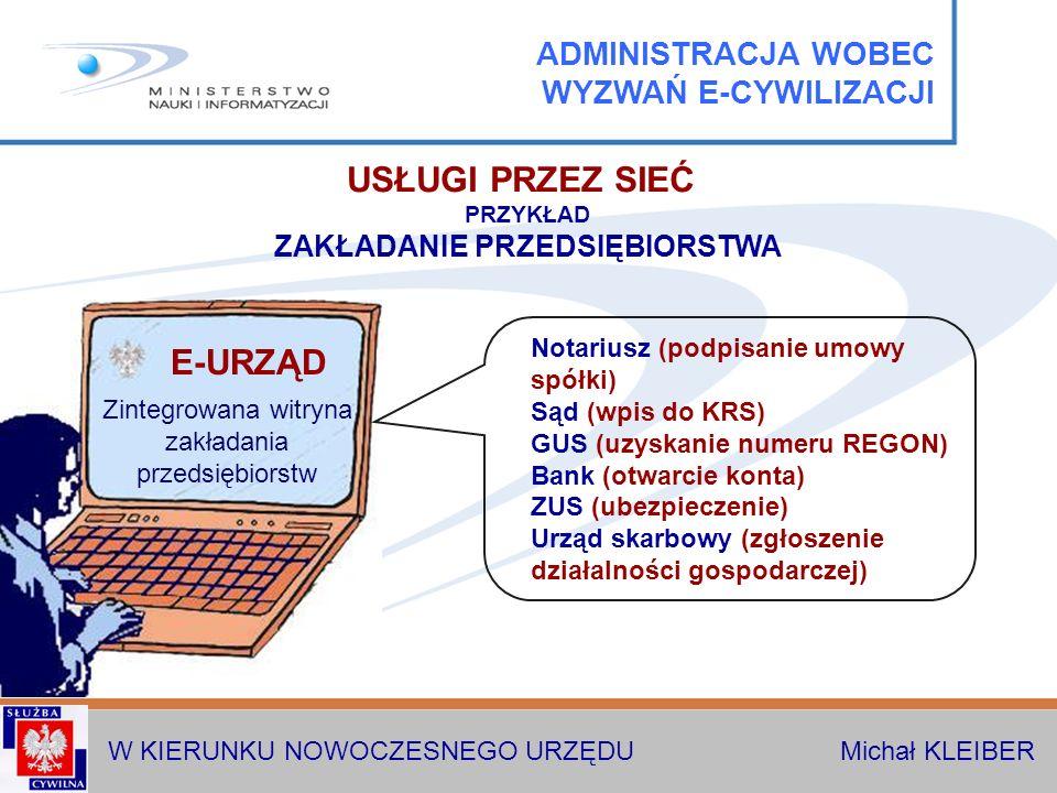 W KIERUNKU NOWOCZESNEGO URZĘDU Michał KLEIBER USŁUGI PRZEZ SIEĆ PRZYKŁAD ZAKŁADANIE PRZEDSIĘBIORSTWA Notariusz (podpisanie umowy spółki) Sąd (wpis do KRS) GUS (uzyskanie numeru REGON) Bank (otwarcie konta) ZUS (ubezpieczenie) Urząd skarbowy (zgłoszenie działalności gospodarczej) Zintegrowana witryna zakładania przedsiębiorstw E-URZĄD ADMINISTRACJA WOBEC WYZWAŃ E-CYWILIZACJI