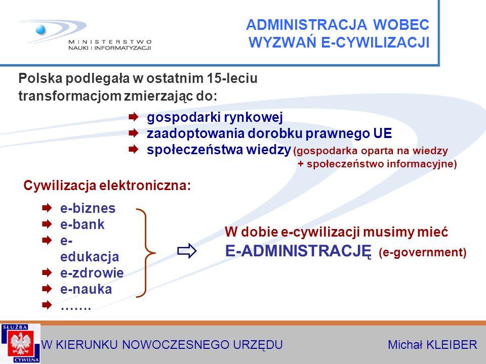 W KIERUNKU NOWOCZESNEGO URZĘDU Michał KLEIBER gospodarki rynkowej zaadoptowania dorobku prawnego UE społeczeństwa wiedzy (gospodarka oparta na wiedzy + społeczeństwo informacyjne) e-biznes e-bank e- edukacja e-zdrowie e-nauka …….